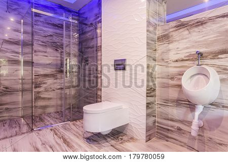 Marble Bathroom With Glass Shower Enclosure