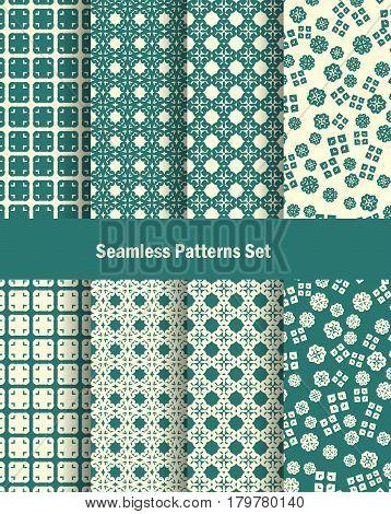 Seamless patterns set in oriental style. Vector ilustration. Decorative arabil decor template.