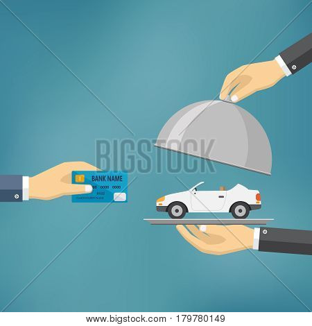 Ecommerce vector flat illustration. Hand hold credit card and hand hold cloche with car on it.