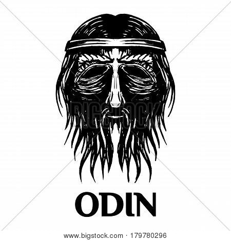Odin god vector isolated head icon. Swedish or Norse Scandinavian ancient mythology symbol isolated sketch