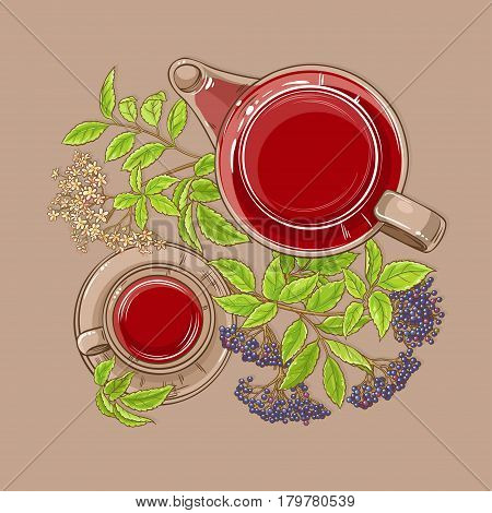 cup of elderberry tea and teapot on color background