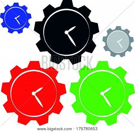 Color hours with gear on white background. Vector illustration.