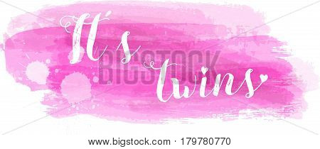 Baby gender reveal concept illustration. It's twins. Pink colored. poster