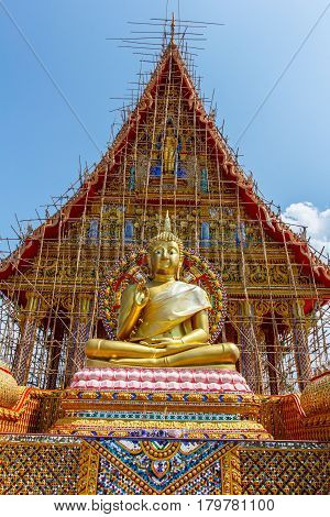 The Golden colossof Buddhism in Thailand Temple