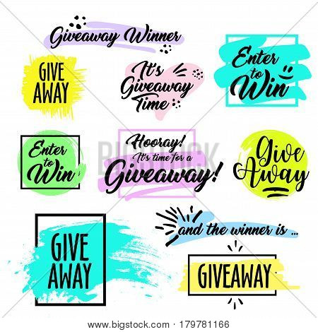 Giveaway handwritten in black brush ink lettering text, Give away time, enter to win, and the winner is and design elements, vector banner for social media contest, calligraphy style