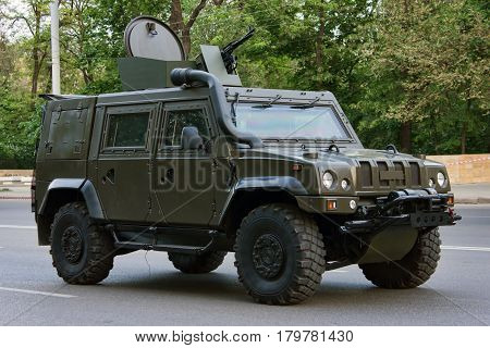 Armored car Rys Rostov-on-Don Russia May 4 2012 Preparing for the Victory Parade