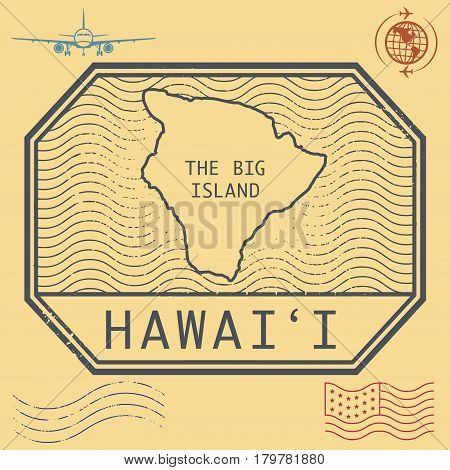 Retro vintage postage stamps set Hawaii The Big Island United States theme vector illustration