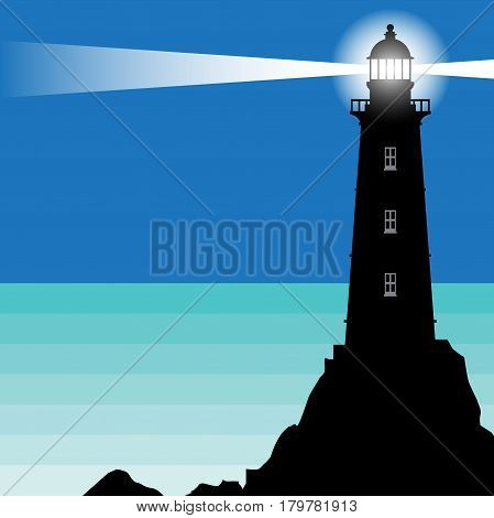 Lighthouse Beacon Lighthouse Stands on Rocks vector Illustration
