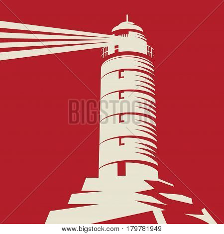 Lighthouse Beacon Lighthouse Stands on Rocks red background vector Illustration