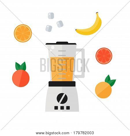 Blender icon isolated on white background. Food processor icon with smoothie fruits. Orange, grapefruit, banana, ice, mixer. Flat vector illustration design.