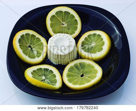 Lemon dessert. Flan cheese and sweet lemon but also sour.