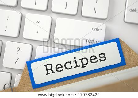 Orange Sort Index Card with Recipes on Background of White Modern Keypad. Closeup View. Blurred Image. 3D Rendering.