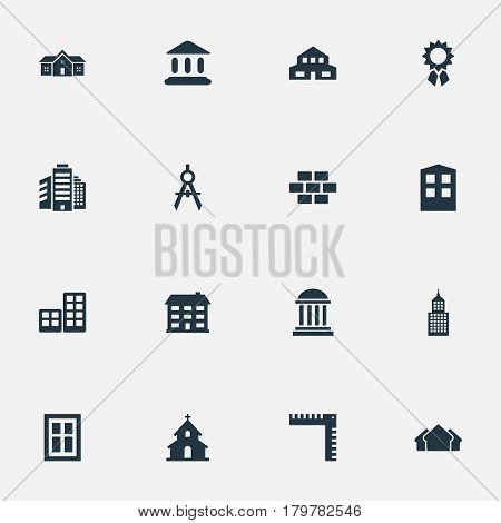 Vector Illustration Set Of Simple Architecture Icons. Elements Reward, Glazing, Residential And Other Synonyms Glazing, Shack And Construction.