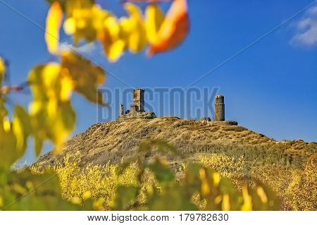 View of the ruins of the castle Hazmburk in autumn