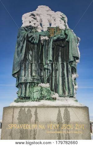 View of the statue of St. Cyril and Methodius in winter