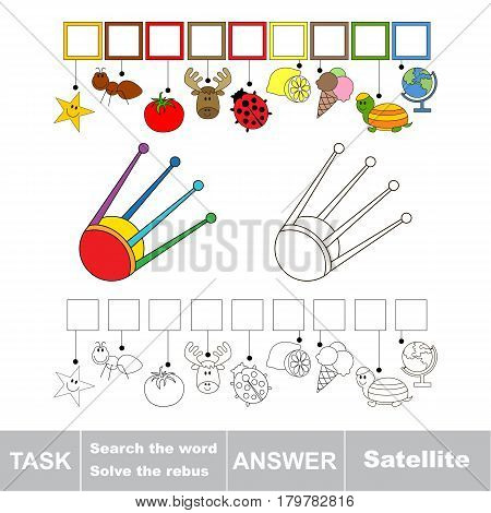 Educational puzzle game for kids. Find the hidden word Satellite