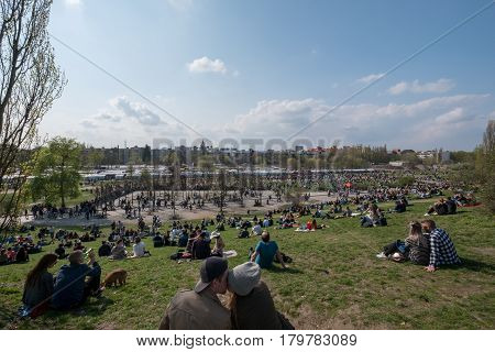 People At Park (mauerpark) In Berlin
