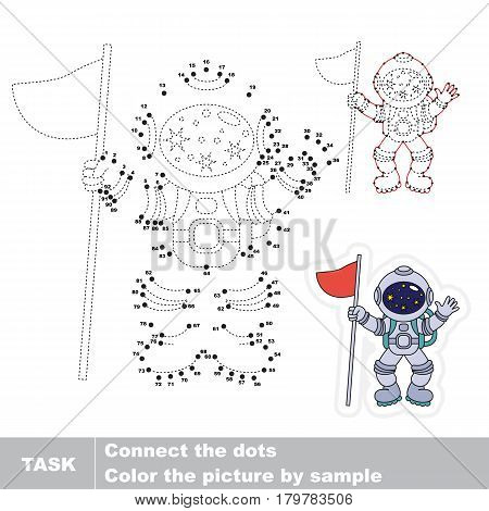 Astronaut. Dot to dot educational game for kids.