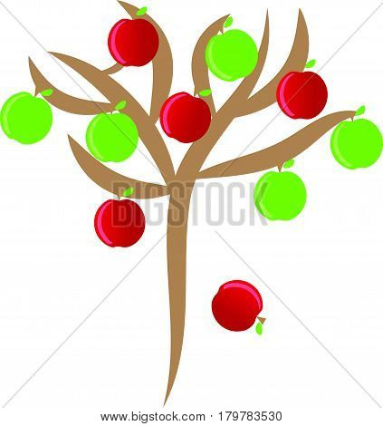 Apples with tree on white background. Vector illustration.