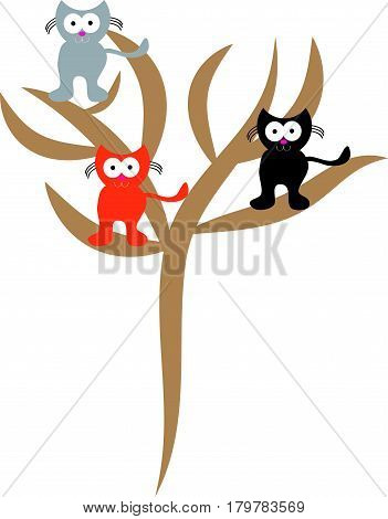 Three cats on tree on white background. Vector illustration.