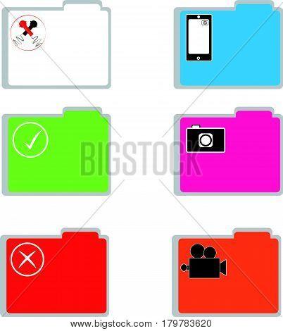 Color folders on white background. Vector illustration.