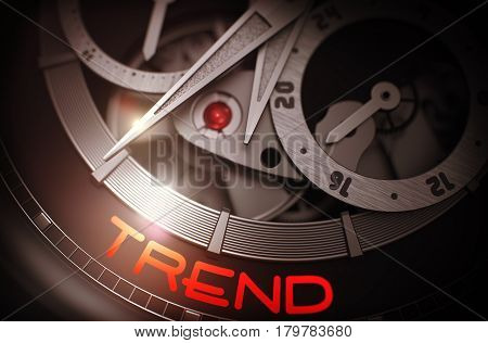 Luxury Men Pocket Watch with Trend on Face, Symbol of Time. Trend - Black and White Closeup of Pocket Watch Mechanism. Time and Work Concept Illustration with Glow Effect and Lens Flare. 3D Rendering.