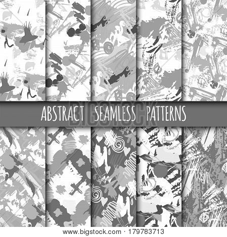 Creative universal different hand drawn seamless patterns endless texture abstract fills surface and colorful geometric ornaments vector illustration. Decorative fashion print military background.