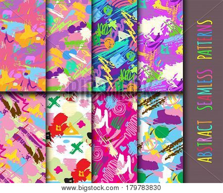Creative universal different hand drawn seamless patterns endless texture abstract fills surface and colorful geometric ornaments vector illustration. Decorative paper style fashion print.