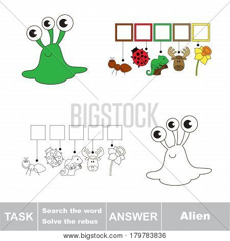 Educational puzzle game for kids. Find the hidden word Alien