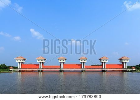 Sluice large on the Bang Pakong River in Chachoengsao Thailand .