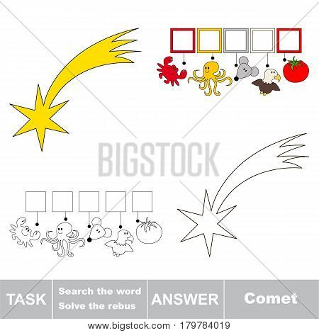 Educational puzzle game for kids. Find the hidden word Comet