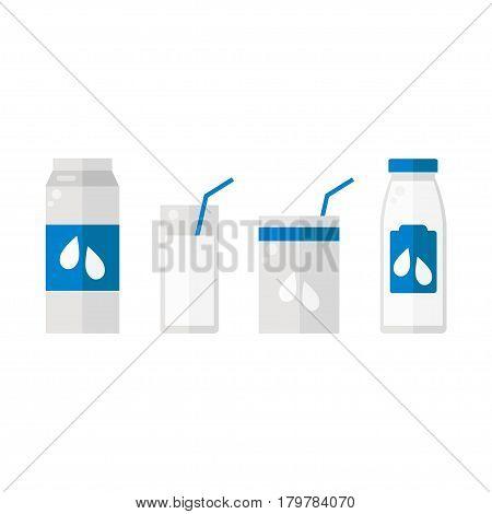 Milk. Bottle, glass, pack. Milk set on white background. Flat vector illustration design.