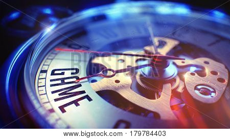 Game. on Watch Face with Close Up View of Watch Mechanism. Time Concept. Light Leaks Effect. Vintage Pocket Watch Face with Game Wording on it. Business Concept with Film Effect. 3D Illustration.