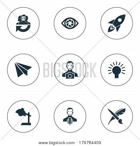 Vector Illustration Set Of Simple Visual Art Icons. Elements Concentration, Electric, Cameraman And Other Synonyms Brush, Message And Team.