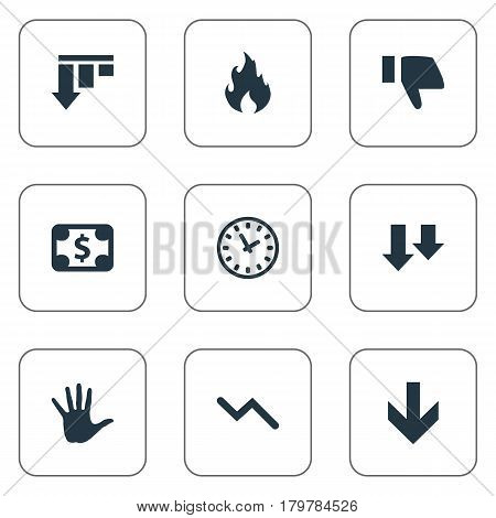 Vector Illustration Set Of Simple Situation Icons. Elements Finger Below, Bankroll, Palm And Other Synonyms Fire, Dollar And Business.