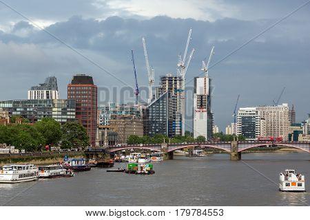LONDON, ENGLAND - JUNE 16 2016: Cityscape of London from Westminster Bridge, England, United Kingdom