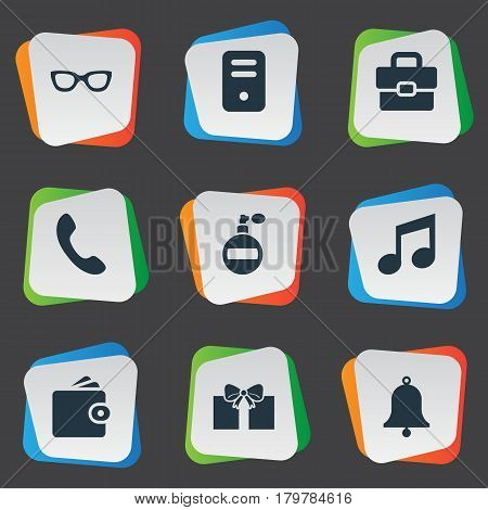 Vector Illustration Set Of Simple Instrument Icons. Elements Gift, Fragrance, Music And Other Synonyms Give, Processor And Perfume.