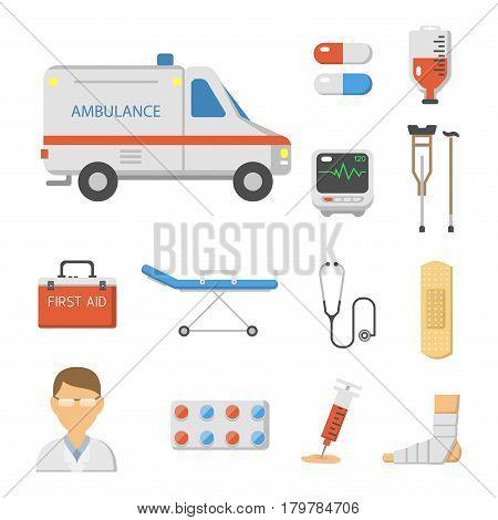 Medical icons set care heart ambulance hospital emergency and syringe pharmacy clinic web human laboratory symbols vector illustration. Medication doctor science.