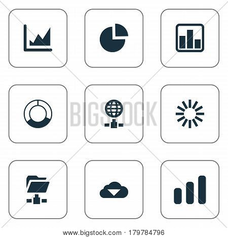 Vector Illustration Set Of Simple Information Icons. Elements Progress, Cycle Chart, Circular Diagram And Other Synonyms Pie, Growth And Circle.