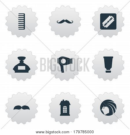 Vector Illustration Set Of Simple Hairdresser Icons. Elements Scent, Premises, Bottle And Other Synonyms Scent, Architecture And Tool.
