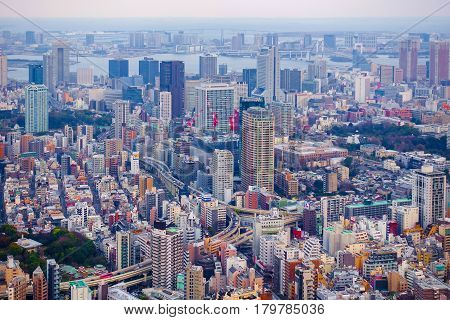 Tokyo Japan-March 29 2016: Aerial view of Tokyo skyline with the highway bridges park and habour as a background from Roppongi hill