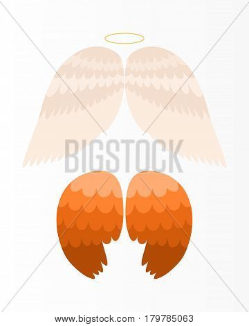 Wings angel isolated animal feather pinion bird freedom flight and natural hawk life peace design flying element eagle winged side shapevector illustration. Beauty haven soft anatomy graphic.
