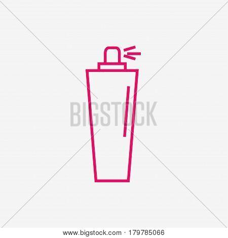Perfume isolated icon on background. Perfume bottle. Fragrance. Perfumery product. Flat line style vector illustration.