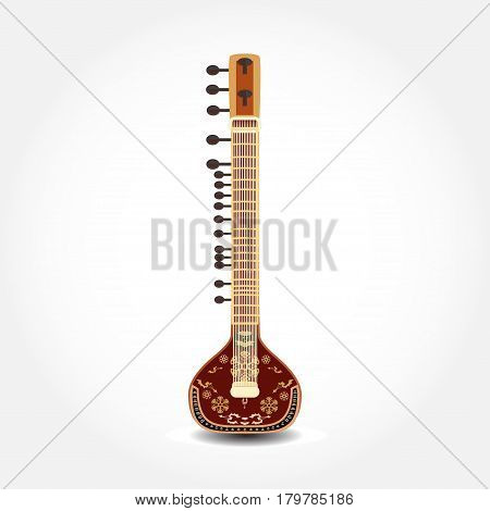 Vector illustration of sitar isolated on white background. String plucked musical instrument.