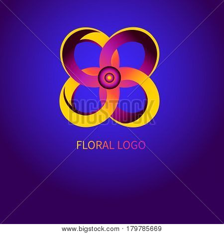 Abstract gradient flower logo icon for ordering online. Banner with floral elements. Vector illustration.