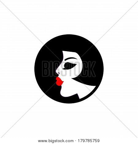 Profile of beautiful girl in circle isolated. Glamour logo icon beauty salon parlour hairdresser. Vector illustration.