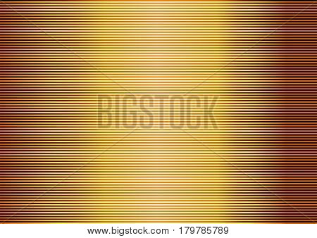 Abstract gold striped lined horizontal glowing background. Scan screen. Technological futuristic card with stripes. Vector illustration.