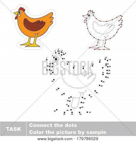 Brown Beautiful Hen. Dot to dot educational game for kids.