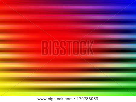 Abstract rainbow striped lined horizontal glowing background. Scan screen. Technological futuristic card with stripes. Vector illustration.