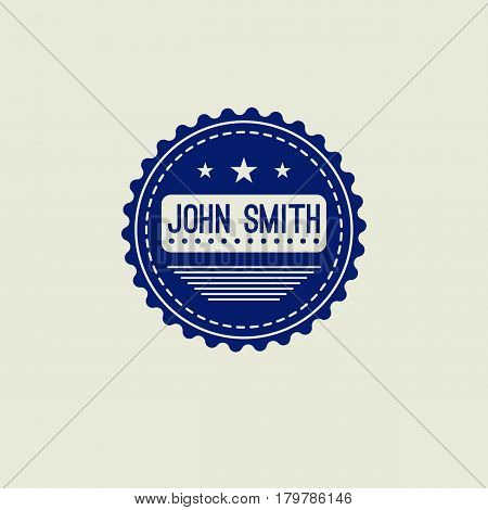 Hipster retro blue round logo with wavy edge, name, stars and lines. Vintage sign of quality. Vector illustration.